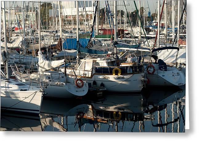Yachts In The Lisboa Dock  Greeting Card by Maryia Isachenka