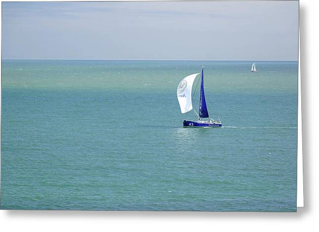 Yachts Sailing In Ventnor Bay Greeting Card by Rod Johnson