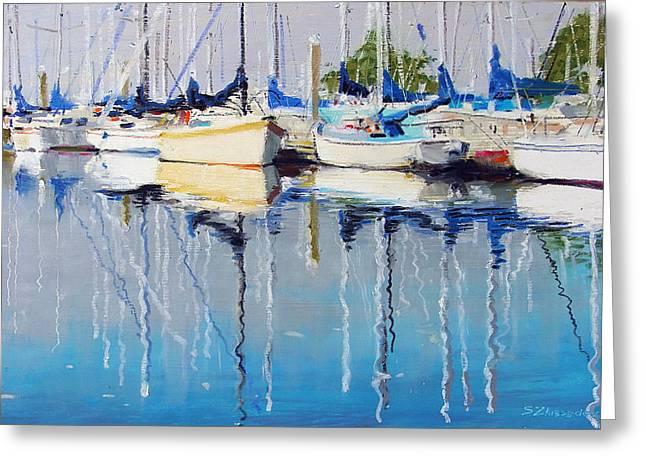 Yachts Greeting Card by Sergey Zhiboedov