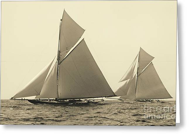 Yachts Valkyrie II And Vigilant Race For Americas Cup 1893 Greeting Card