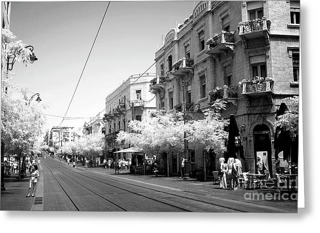 Yafo Street Greeting Card by John Rizzuto