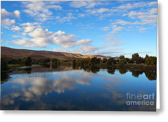 Yakima River Mirror Greeting Card by Mike Dawson