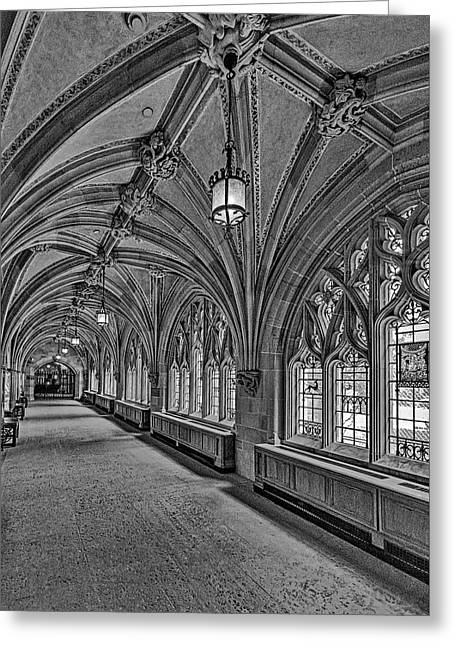 Greeting Card featuring the photograph Yale University Cloister Hallway II Bw by Susan Candelario