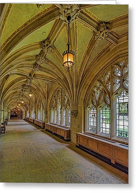 Greeting Card featuring the photograph Yale University Cloister Hallway II  by Susan Candelario