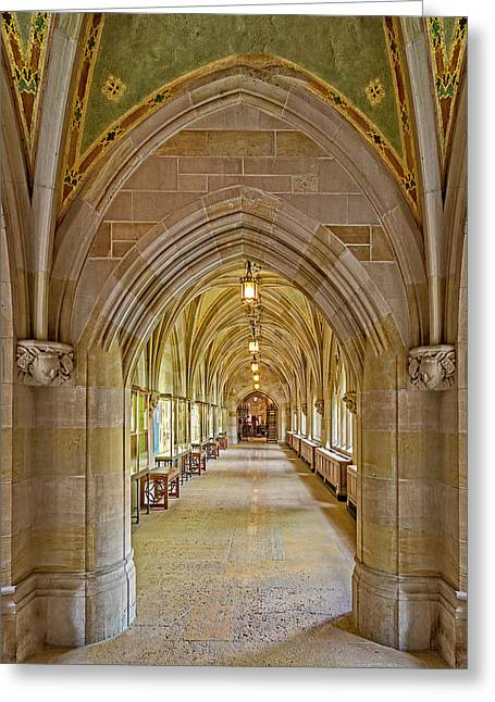 Greeting Card featuring the photograph Yale University Cloister Hallway by Susan Candelario