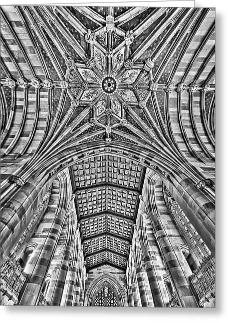 Greeting Card featuring the photograph Yale University Sterling Library Bw by Susan Candelario