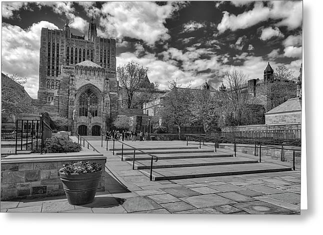 Yale University Sterling Library II Bw Greeting Card