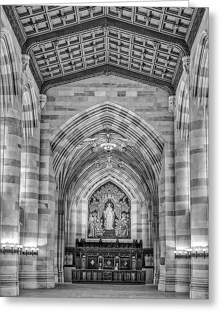 Greeting Card featuring the photograph Yale University Sterling Memorial Library Bw  by Susan Candelario