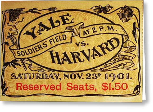 Yale Vs. Harvard Soldiers Field 1901 Vintage Ticket Greeting Card