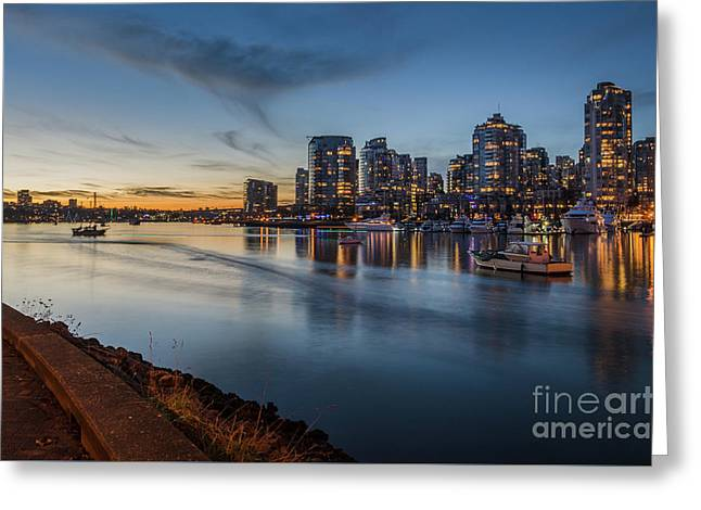 Yaletown Sunset Greeting Card by Victor Andre