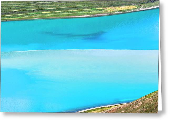 Greeting Card featuring the photograph Yamdrok Abstract 1, Tibet, 2007 by Hitendra SINKAR