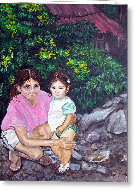 Yamileth And Daughter Greeting Card by Sarah Hornsby
