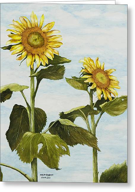 Yana's Sunflowers Greeting Card by Mary Ann King