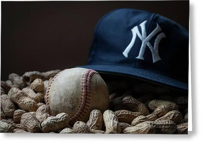 Yankee Cap Baseball And Peanuts Greeting Card