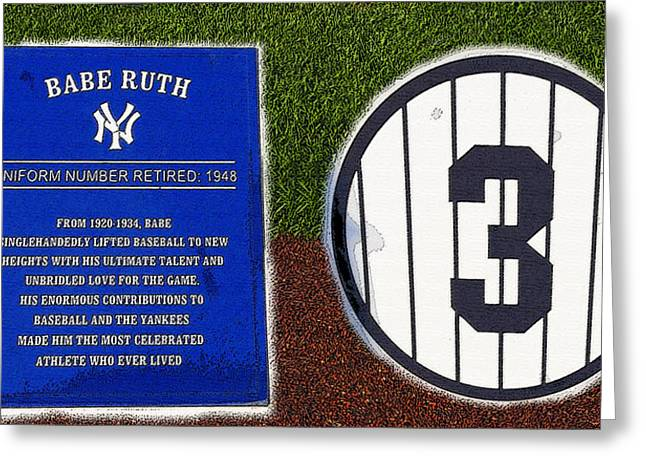 Baseball Art Greeting Cards - Yankee Legends number 3 Greeting Card by David Lee Thompson