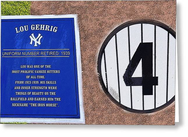 Baseball Art Digital Art Greeting Cards - Yankee Legends number 4 Greeting Card by David Lee Thompson