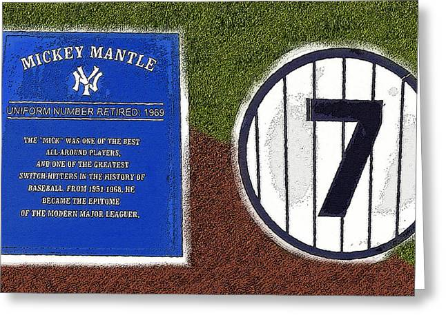 Mickey Mantle Greeting Cards - Yankee Legends number 7 Greeting Card by David Lee Thompson