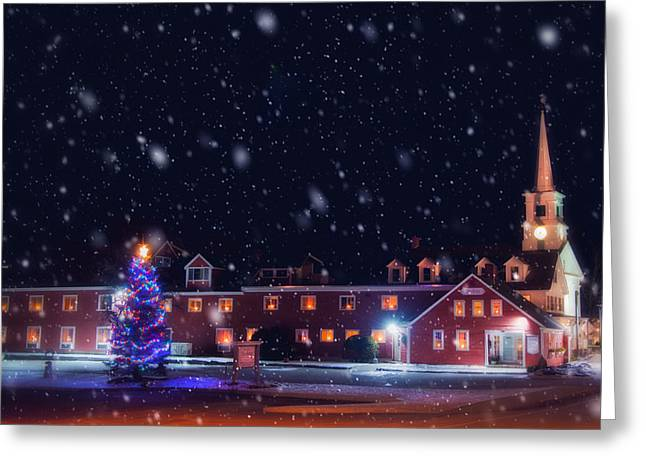 Yankee Magazine - Christmas In New England - White Steeple In Snow Greeting Card by Joann Vitali
