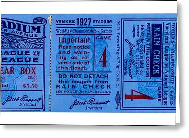 Greeting Card featuring the drawing Yankee Stadium 1927 World Series Ticket Babe Ruth Game by Peter Gumaer Ogden