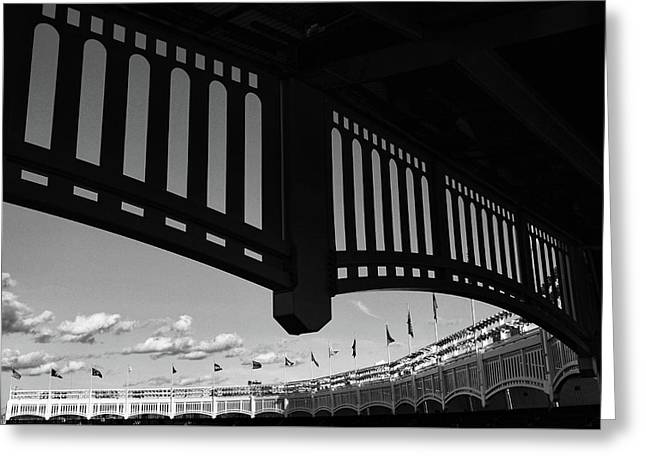 Yankee Stadium Facade - B And W Greeting Card