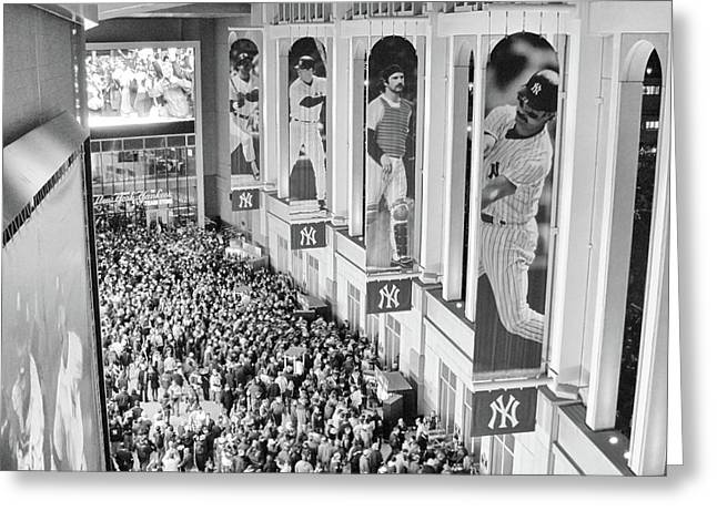 Yankee Stadium Great Hall 2009 World Series Black And White Greeting Card by Terry DeLuco