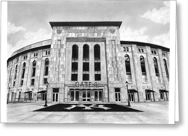 Yankee Stadium Greeting Card by Greg DiNapoli