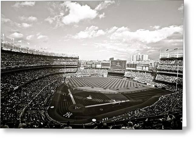 Yankee Stadium Third Bw Greeting Card by Phil Selig