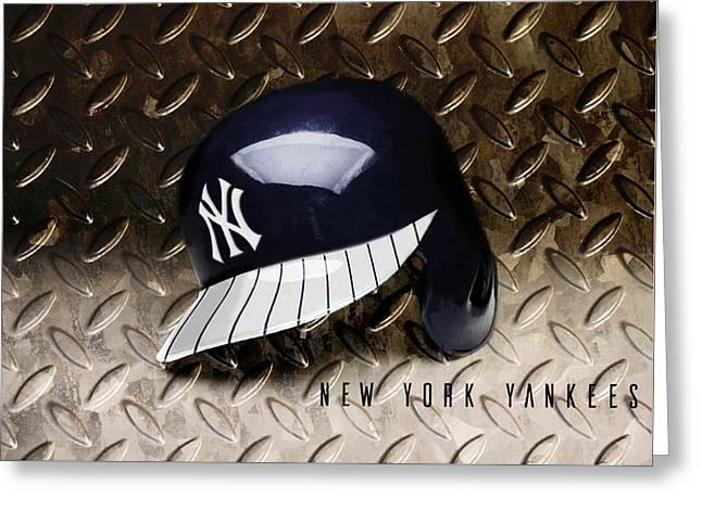 Yankees Batting Helmet Greeting Card by Dan Haraga