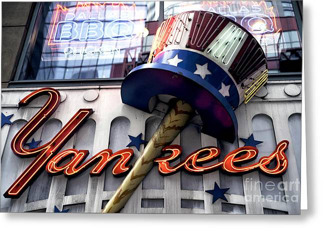 Yankees In Times Square Greeting Card by John Rizzuto