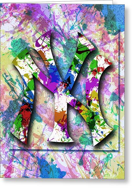 Yankees Splatter Art By Gbs Greeting Card by Anibal Diaz
