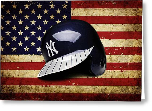 Yanks Batting Helmet Greeting Card