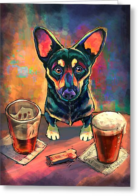 Dogs Digital Greeting Cards - Yappy Hour Greeting Card by Sean ODaniels
