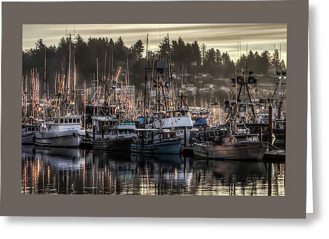Greeting Card featuring the photograph Yaquina Bay Boat Basin At Dawn by Thom Zehrfeld