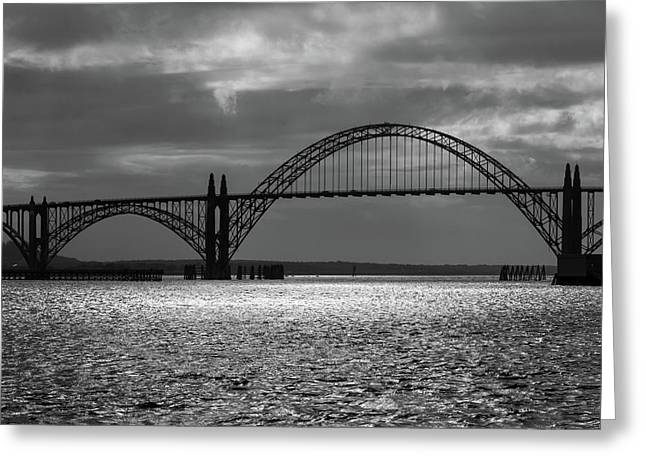 Yaquina Bay Bridge Black And White Greeting Card by James Eddy