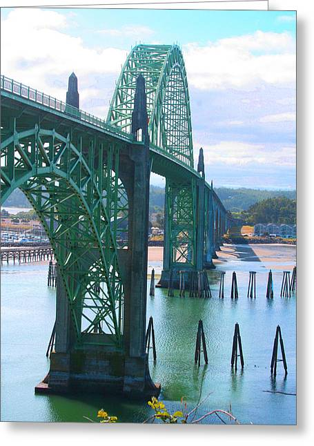 Yaquina Bay Bridge Br-9002 Greeting Card by Mary Gaines