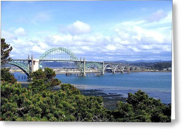 Yaquina Bay Bridge Greeting Card by Will Borden