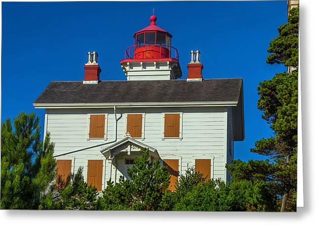 Yaquina Bay Lighthouse Greeting Card by Garry Gay