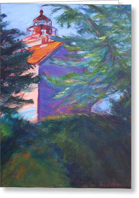 Travel Narratives Greeting Cards - Yaquina Bay Lighthouse  Greeting Card by Quin Sweetman
