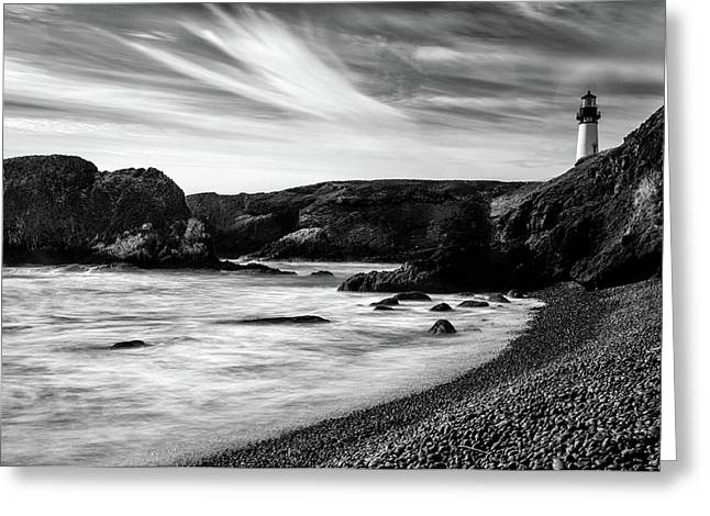Yaquina Head Lighthouse 1 Black And White Greeting Card