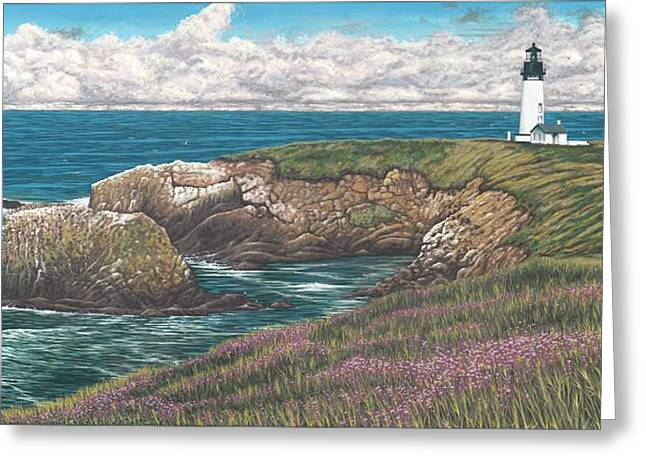 Yaquina Head Lighthouse Greeting Card by Andrew Palmer