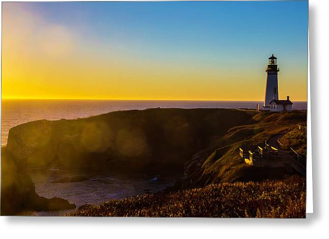 Yaquina Head Lighthouse Landscape Greeting Card by Garry Gay