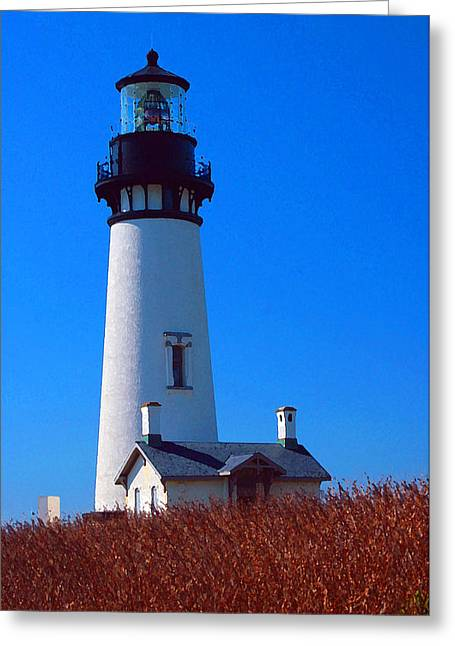 Yaquina Head Lighthouse Greeting Card by Margaret Hood