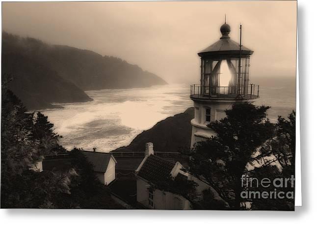 Heceta Head Lighthouse Oregon 2 Greeting Card by Bob Christopher