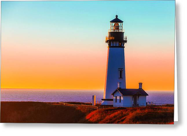 Yaquina Head Lighthouse Oregon Greeting Card by Garry Gay