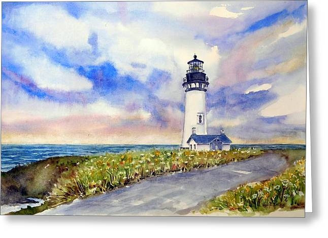 Yaquina Head Lighthouse - Springtime Greeting Card