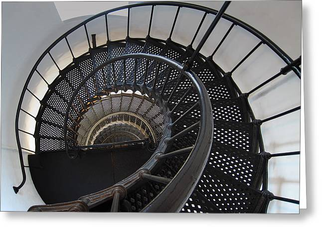 Yaquina Lighthouse Stairway Nautilus - Oregon State Coast Greeting Card by Daniel Hagerman