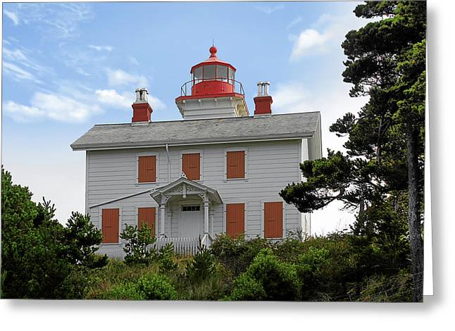 Yaquina Lighthouses - Yaquina Bay Lighthouse Oregon Greeting Card by Christine Till