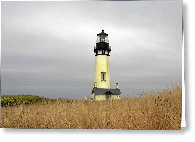 Coast Highway One Greeting Cards - Yaquina Lighthouses - Yaquina Head Lighthouse Western Oregon Greeting Card by Christine Till