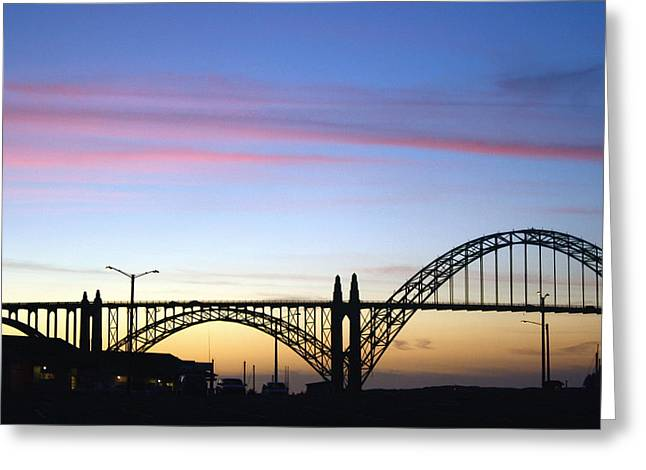 Yaquina Bay Bridge Greeting Cards - Yaquina Sunset Greeting Card by Claire McGee