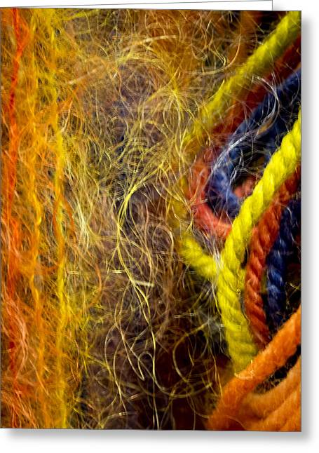 Yarn And Fiber Abstract Greeting Card by Jean Noren